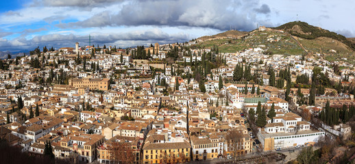Overview of the Albaicin neighborhood in Granada.