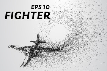 Fighter of the particles. The silhouette of the aircraft consists of small circles and dots.