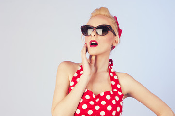 Pin up girl with fashion glasses