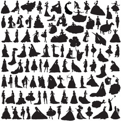 100 Women silhouettes on white background. Bride in different poses and dresses.