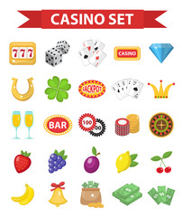 Casino icons, flat style. Gambling set isolated on a white background. Poker, card games, one-armed bandit, roulette collection of design elements. Vector illustration, clip art