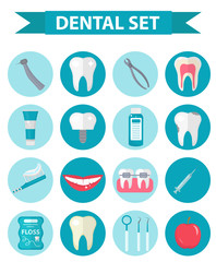 Dental icon set, flat style. Stomatology kit isolated on white background.Dentistry collection of design elements. Vector illustration, clip art