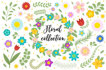 Flowers and leaves set. Floral collection isolated on white background. Spring, summer design elements for invitation, wedding or greeting cards. Floral frame with space for text. Vector illustration