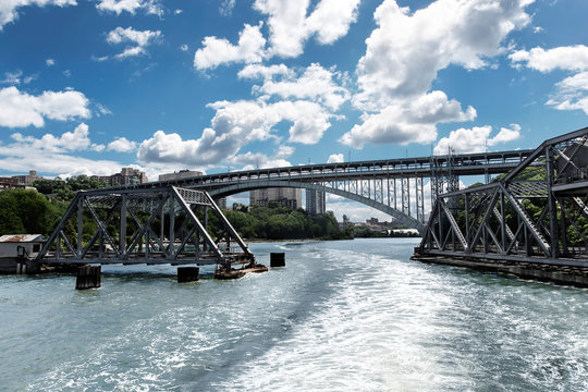 Swing bridge on the Hudson River opening to let a boat pass through