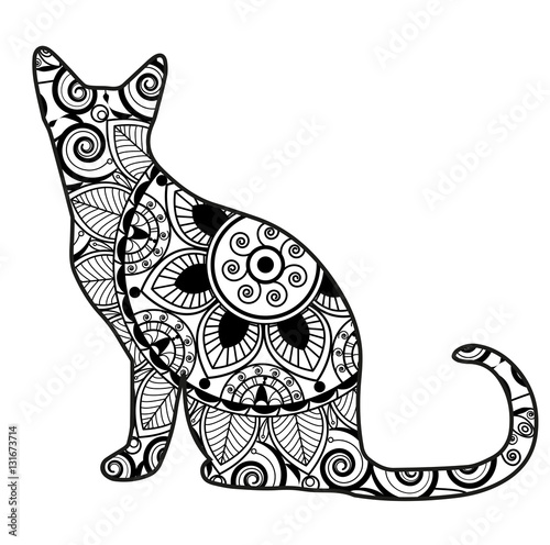Vector Illustration Of A Cat Mandala For Coloring Book Gatto Vettoriale Da Colorare
