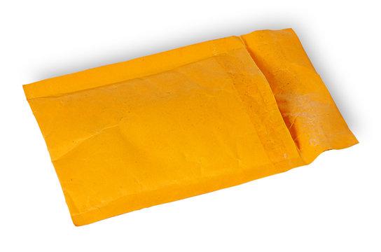Open used yellow envelope