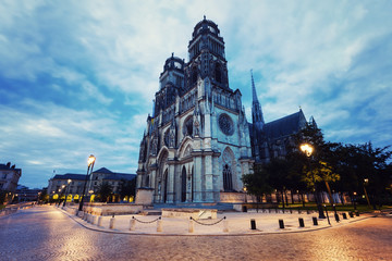 Cathedral Sainte-Croix in Orleans during the light show