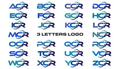 3 letters modern generic swoosh logo ACR, BCR, CCR, DCR, ECR, FCR, GCR, HCR, ICR, JCR, KCR, LCR, MCR, NCR, OCR, PCR, QCR, RCR, SCR, TCR, UCR, VCR, WCR, XCR, YCR, ZCR