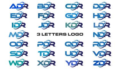 3 letters modern generic swoosh logo ADR, BDR, CDR, DDR, EDR, FDR, GDR, HDR, IDR, JDR, KDR, LDR, MDR, NDR, ODR, PDR, QDR, RDR, SDR, TDR, UDR, VDR, WDR, XDR, YDR, ZDR
