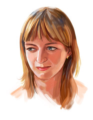 Portrait of a girl. Portrait drawing