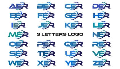 3 letters modern generic swoosh logo AER, BER, CER, DER, EER, FER, GER, HER, IER, JER, KER, LER, MER, NER, OER, PER, QER, RER, SER, TER, UER, VER, WER, XER, YER, ZER