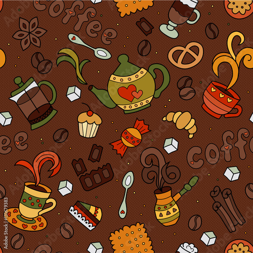 seamless doodle coffee pattern - photo #37