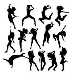 Hip Hop Dancing Silhouettes, art vector design