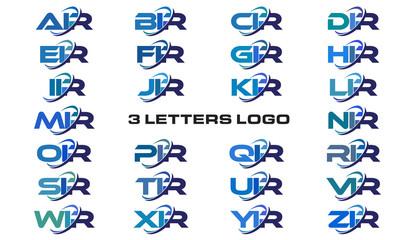 3 letters modern generic swoosh logo AIR, BIR, CIR, DIR, EIR, FIR, GIR, HIR, IIR, JIR, KIR, LIR, MIR, NIR, OIR, PIR, QIR, RIR, SIR, TIR, UIR, VIR, WIR, XIR, YIR, ZIR