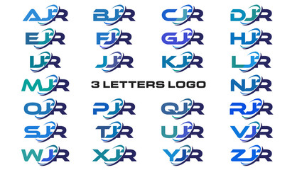 3 letters modern generic swoosh logo AJR, BJR, CJR, DJR, EJR, FJR, GJR, HJR, IJR, JJR, KJR, LJR, MJR, NJR, OJR, PJR, QJR, RJR, SJR, TJR, UJR, VJR, WJR, XJR, YJR, ZJR