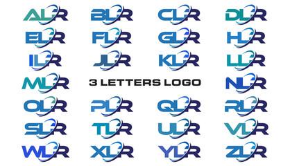 3 letters modern generic swoosh logo ALR, BLR, CLR, DLR, ELR, FLR, GLR, HLR, ILR, JLR, KLR, LLR, MLR, NLR, OLR, PLR, QLR, RLR, SLR, TLR, ULR, VLR, WLR, XLR, YLR, ZLR