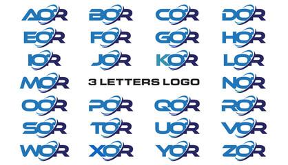 3 letters modern generic swoosh logo AOR, BOR, COR, DOR, EOR, FOR, GOR, HOR, IOR, JOR, KOR, LOR, MOR, NOR, OOR, POR, QOR, ROR, SOR, TOR, UOR, VOR, WOR, XOR, YOR, ZOR