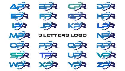 3 letters modern generic swoosh logo APR, BPR, CPR, DPR, EPR, FPR, GPR, HPR, IPR, JPR, KPR, LPR, MPR, NPR, OPR, PPR, QPR, RPR, SPR, TPR, UPR, VPR, WPR, XPR, YPR, ZPR