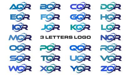 3 letters modern generic swoosh logo AQR, BQR, CQR, DQR, EQR, FQR, GQR, HQR, IQR, JQR, KQR, LQR, MQR, NQR, OQR, PQR, QQR, RQR, SQR, TQR, UQR, VQR, WQR, XQR, YQR, ZQR
