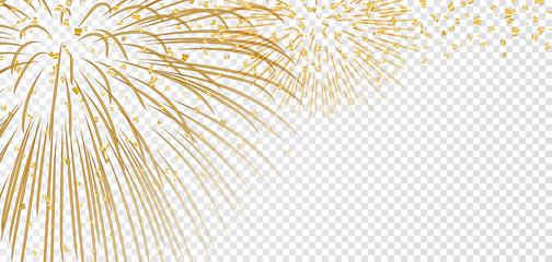 Gold bright firework on white transparent Christmas background. Golden decoration glitter abstract design Happy New Year card, greeting, Xmas holiday celebrate, invitation. Vector illustration
