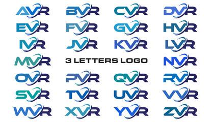 3 letters modern generic swoosh logo AVR, BVR, CVR, DVR, EVR, FVR, GVR, HVR, IVR, JVR, KVR, LVR, MVR, NVR, OVR, PVR, QVR, RVR, SVR, TVR, UVR, VVR, WVR, XVR, YVR, ZVR