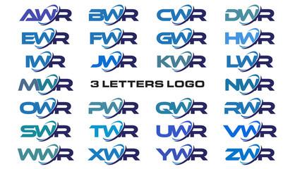 3 letters modern generic swoosh logo AWR, BWR, CWR, DWR, EWR, FWR, GWR, HWR, IWR, JWR, KWR, LWR, MWR, NWR, OWR, PWR, QWR, RWR, SWR, TWR, UWR, VWR, WWR, XWR, YWR, ZWR