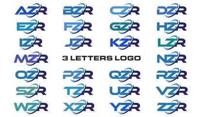 3 letters modern generic swoosh logo AZR, BZR, CZR, DZR, EZR, FZR, GZR, HZR, IZR, JZR, KZR, LZR, MZR, NZR, OZR, PZR, QZR, RZR, SZR, TZR, UZR, VZR, WZR, XZR, YZR, ZZR