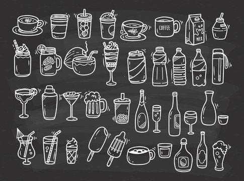 Beverages doodle set on chalkboard background