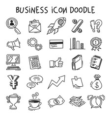 Set of business icon in doodle style