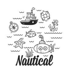 cartoon nautical, marine icon set
