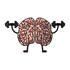 brain human kawaii character vector illustration design