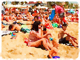 Digital watercolor painting of people on the sandy beach in Barcelona Spain on a sunny day with space for text. Sunbathers relaxing and enjoying the sunshine.