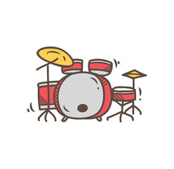Drum set doodle isolated on white background