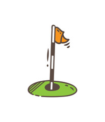 golf hole flag icon in doodle style