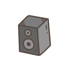 Loud speaker doodle isolated on white background
