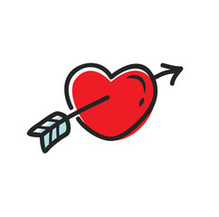 Arrow and heart symbol in doodle style, valentine design element