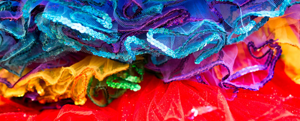 Colorful sequin and net tutu costumes in New Orleans. Close up detail.