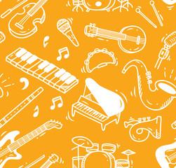 Music instrument doodle background