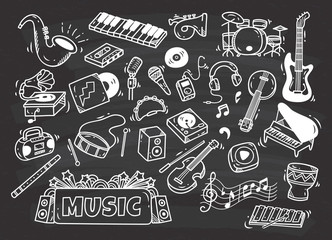 set of music instrument in doodle style on chalkboard background