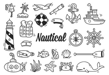 Set of nautical doodle