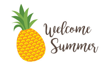 Summer poster with pineapple