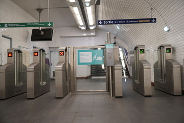 Paris subway station ticket gate