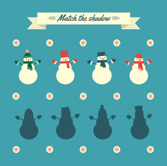 """Vector retro styled illustration of snowmen. Visual attention training game """"Match the shadow"""". Square format."""