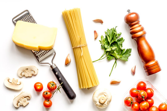 ingredients for cooking paste on white background top view