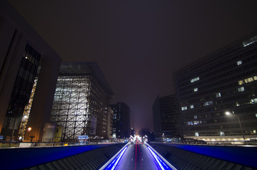 Urban tunnel and traffic at night in Brussels