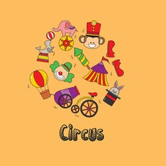 Vector illustration of doodle circus animals and objects.