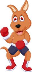 cute boxing kangaroo cartoon