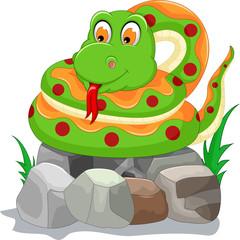 cute snake cartoon on the stone