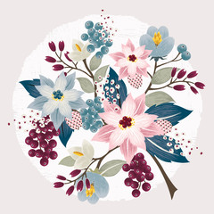 Vector illustration of a beautiful floral border in winter for Happy New Year and Merry Christmas cards