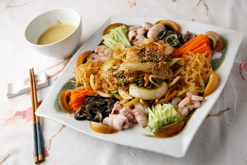 yangjangpi Assorted Seafood and Vegetables with Mustard Sauce